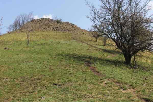 ze sedla směr předvrchol Brníku, v druhé zatáčce pěšiny doleva je vidět solitérního hlaváčka
