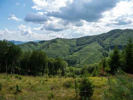 Stratený budzogáň a vpravo Žibrid 867 m n. m., druhý najvyšší vrch Súľovských vrchov