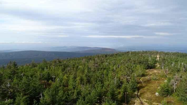 Vlevo Olivetská hora, vpravo Ptačí kupy. Uprostřed nejblíže je Poledník, za ním Stržový vrch, doleva za ním Oldřichovský Špičák, za ním Lysý vrch a ještě za ním Výhledy